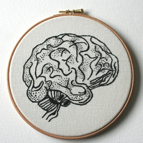 Brain Hand Embroidered Stitched Illustration Wall Plaque