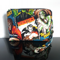 Monster Movie Dracula, The Mummy, Wolfman, Frankenstein Make Up Cosmetics Bag