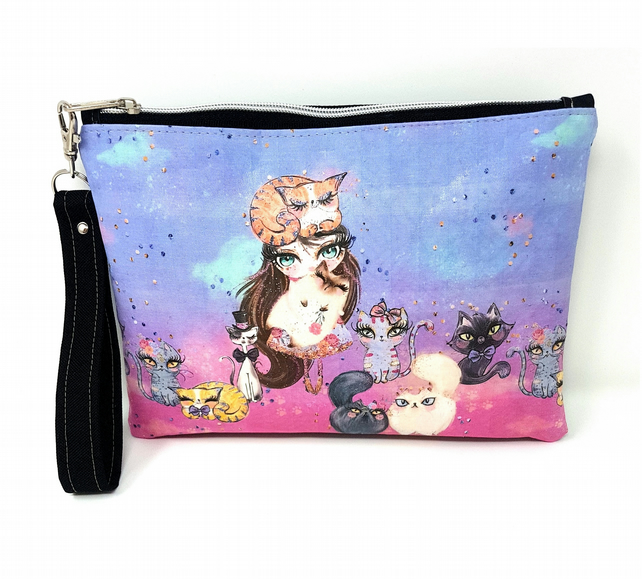 Cats and Girl Wristlet Clutch Bag, Essentials Bag, Grab and Go, Removable Strap