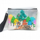 Tiger & Trees Wristlet Clutch Bag, Essentials Bag, Grab and Go, Removable Strap