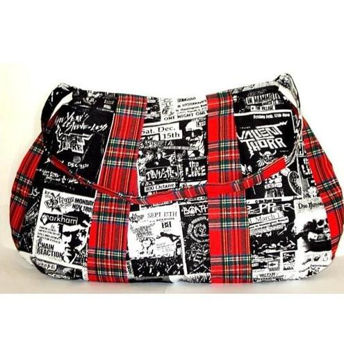 Gig Concert Band Posters Red Tartan Punk Goth Bag