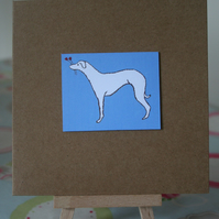Whippet Dog On Blue Handmade Greetings Card - FREE P&P IN UK
