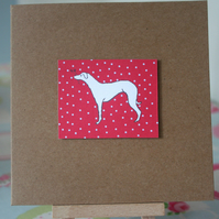 Handmade Christmas Red Whippet Dog Greetings Card - FREE P&P IN UK