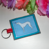 Whippet Dog Fabric Handmade Keyring - FREE P&P IN UK