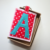 Letter Personalised Keyring In Polka Dot Red - FREE P&P IN UK