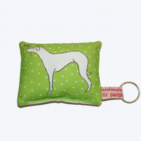 Whippet dog Handmade Mini Green Lavender Cushion Keyring - FREE P&P IN UK
