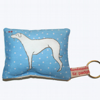 NEW Whippet Handmade Mini Cushion Keyring FREE P&P