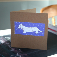 Dachshund Sausage Dog In Blue Handmade Card  - FREE P&P IN UK