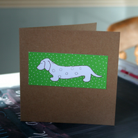 Dachshund Dog Handmade Card Green FREE P & P