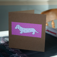 Dachshund Sausage Dog Pink Dotty Handmade card - FREE P&P IN UK