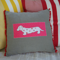 Dachshund Sausage Dog Handmade Cushion In Pink