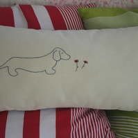 SALE Hand Embroidered Dachshund Dog Design Cushion