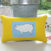 Yellow Pig Design Lavender Cushion - FREE P&P IN UK