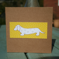 Dachshund Sausage Dog Yellow handmade Greetings Card FREE P&P IN UK