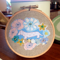 Dachshund Pink And Blue Hand Embroidered Fabric Hoop Picture