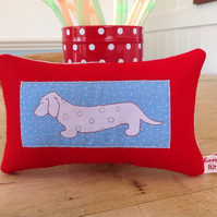 Dachshund Dog Red Lavender Cushion