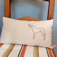 NEW Dog hand embroidered handmade cushion dark red whippet with flowers