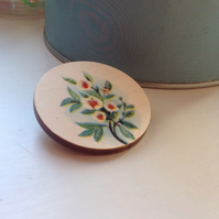 Vintage Flower Illustration Wooden Round Brooch