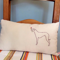 Whippet Dog Design Hand Embroidered Cushion