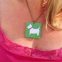 Necklace, Scottie Dog Pink & Green illustrated Wooden Necklace