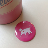 Mirror, Cat Design Pink pocket Mirror With Felt Bag