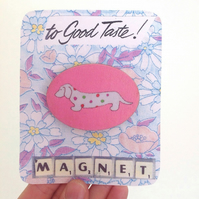 Magnet, Dachshund Sausage Dog Illustrated Magnet In Pink