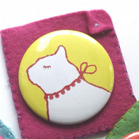 Mirror, Cat Pocket Mirror In Yellow With Felt Pouch