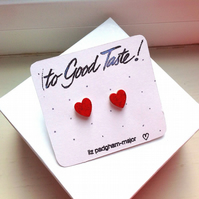 Earrings, Heart Shaped Hand Painted Red & Glitter Wooden Earrings FREE P&P in UK