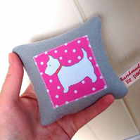 Dog Scottish Terrier Dog Polka Dot Pink Wool Felt Lavender Mini cushion