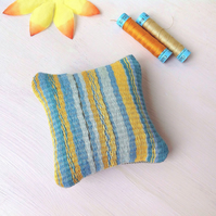 Gold And Blue Hand Woven Lavender Cushion