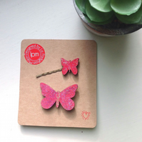 Glitter Pink Butterfly Brooch & Hairslide set