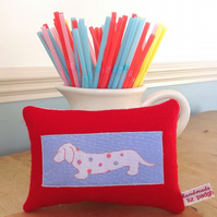 Dachshund Sausage Dog Lavender Mini Cushion - FREE P&P IN UK