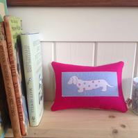 Dog Lavender Mini Cushion In Pink - FREE P&P IN UK