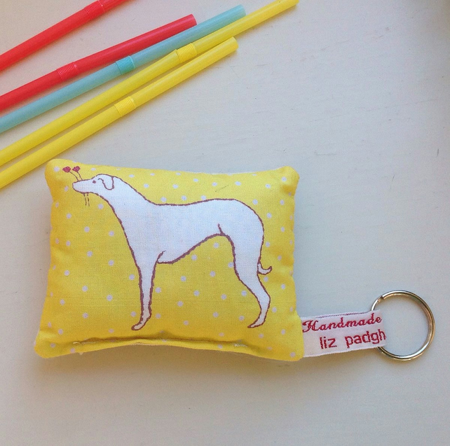 Dog Lavender Bag Yellow Keyring