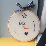 Wild Child Teenager Hand Stitched Wall Hoop Decoration
