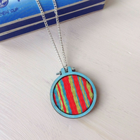 Hand Woven Stripy Pendant On Chain