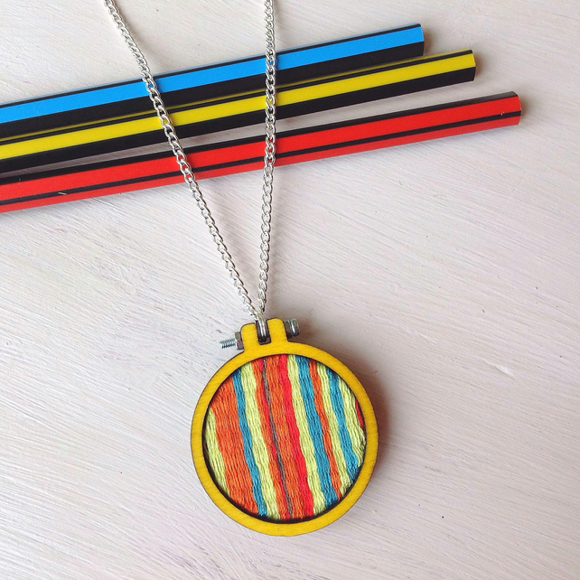 Hand Woven Yellow Mini Hoop Pendant On Chain