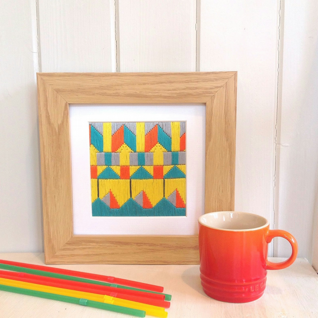 Geometric Hand Embroidered Original Art