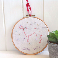 Hand Embroidered Dog Original Hanging Hoop Art