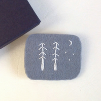 Trees Hand Stitched Felt Brooch
