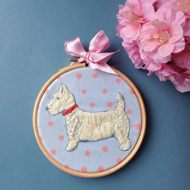 Westie Dog Hand Embroidered Wall Hoop