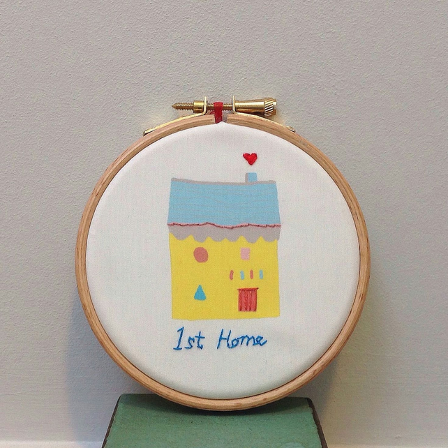 '1st Home' Hand Embroidered, house warming present