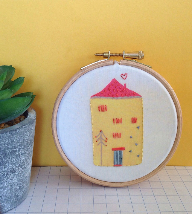'Tall House' Printed And Hand Embroidered Hoop Art