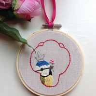 Original art, Blue Tit Bird Hand Embroidered Hoop