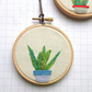 Plant, mini hand embroidered hoop art