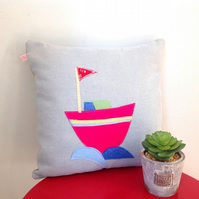 SALE Boat Handmade Cushion