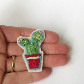 Hand Embroidered Cactus Brooch