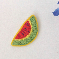 Hand Embroidered Tropical Watermelon Patch