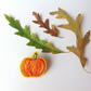 Brooch, Hand Embroidered Pumpkin