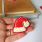 Santa Hat Brooch, Hand Embroidered